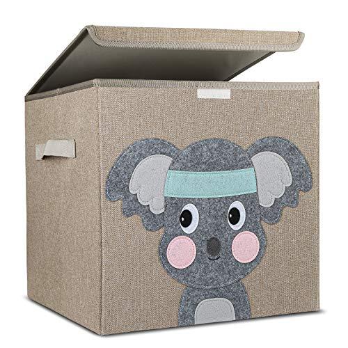 Molbory Aufbewahrungsbox Kinder, Kinder Aufbewahrungsboxen mit Deckel, Niedliche Spielzeugbox, Faltbox für Spielzeugaufbewahrung, Kinder Spielkiste, Aufbewahrungsboxen für Kinderzimmer(33x33x33 cm)