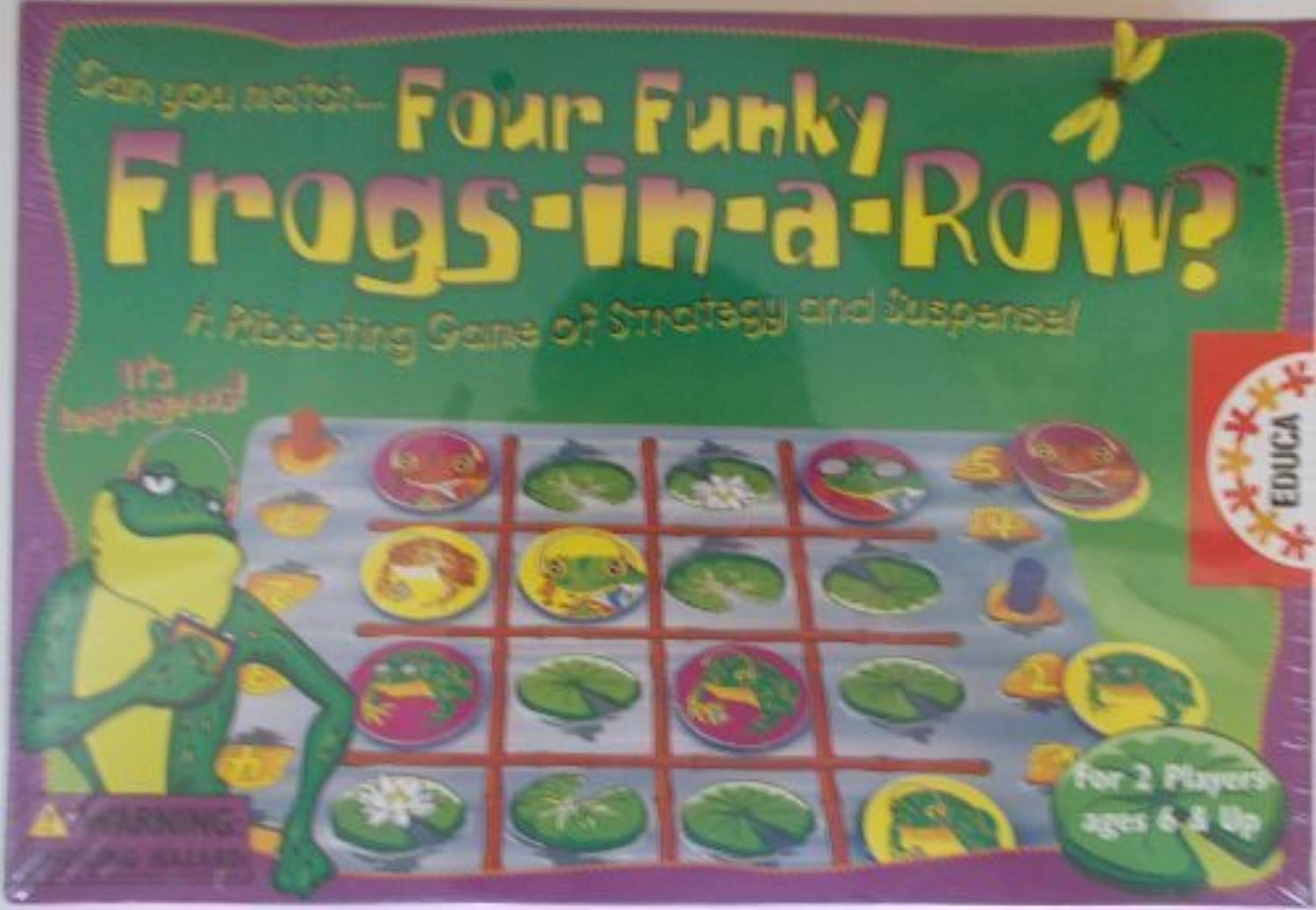 Four Funky Frogs In A Row Game by Educa