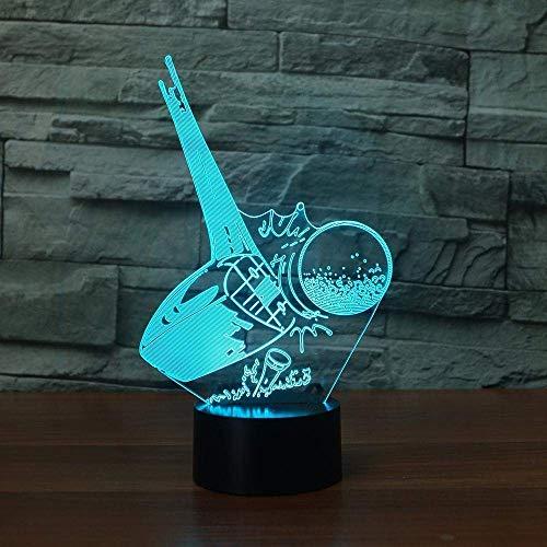Luz nocturna LED 3D, 7 cambios de color, acrílico, 3D, lámpara de mesa como decoración para fiestas en casa, el mejor regalo
