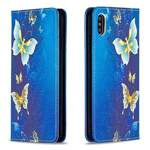 Miagon Brieftasche Hülle für iPhone X/XS,Kreativ Gemalt Handytasche Case PU Leder Geldbörse mit Kartenfach Wallet Cover Klapphülle,Gold Schmetterling