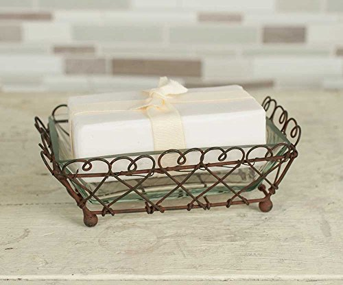 Vintage Inspired Rustic Looped Square Soap Dish. Includes Removable Dish Made of Thick Clear Glass. Best Dish for Shower/Bathroom/Kitchen Decor- Complements Any Space.