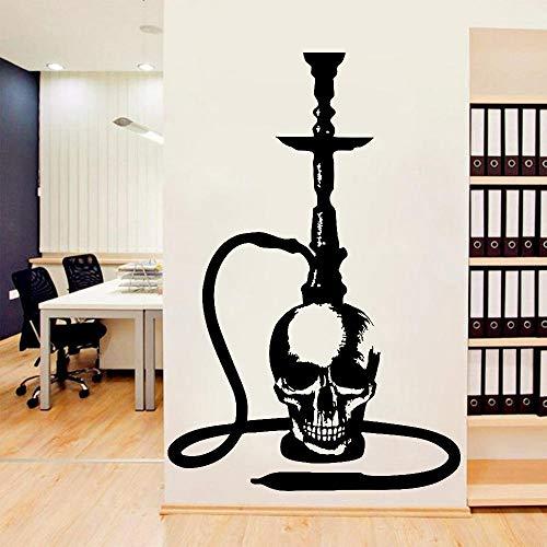 KDSMFA - Pegatinas de pared para tienda de café, ventana, diseño de calavera, diseño de cachimbas, árabe, decoración de barra de fumar, vinilo, 85 x 57 cm