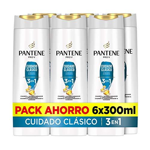 Pantene Pro-V Cuidado Clásico Champú, Acondicionador Y Tratamiento 3En1, Pelo De Aspecto Sano Y Brillante, 6 x 300ml