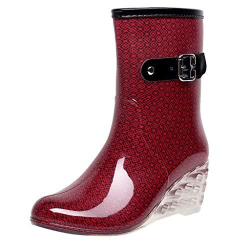 YWLINK Botas De Lluvia Mujer Botas De Nieve Estilo Punk TamañO Grande Zapatos con CuñA Transparentes Zapatos De Goma Antideslizante Zapatos De Agua Calzado Industrial ConstruccióN(Rojo,40EU)