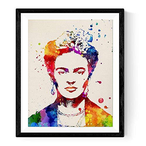 Folie frame 2 Frida Kahlo aquarelstijl. Poster van de Mexicaanse schilder Frida Kahlo. A4-formaat