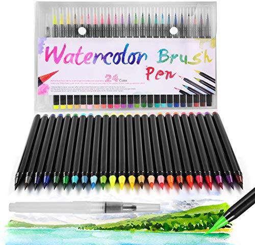 DazSpirit 24 Pinselstifte Set Watercolor Brush Pens + 1 Aquash Wassertankpinsel für Kalligraphie, Skizzieren und Färben. Wasserbasiert, Vielseitig, Lebendig und Umweltfreundlich