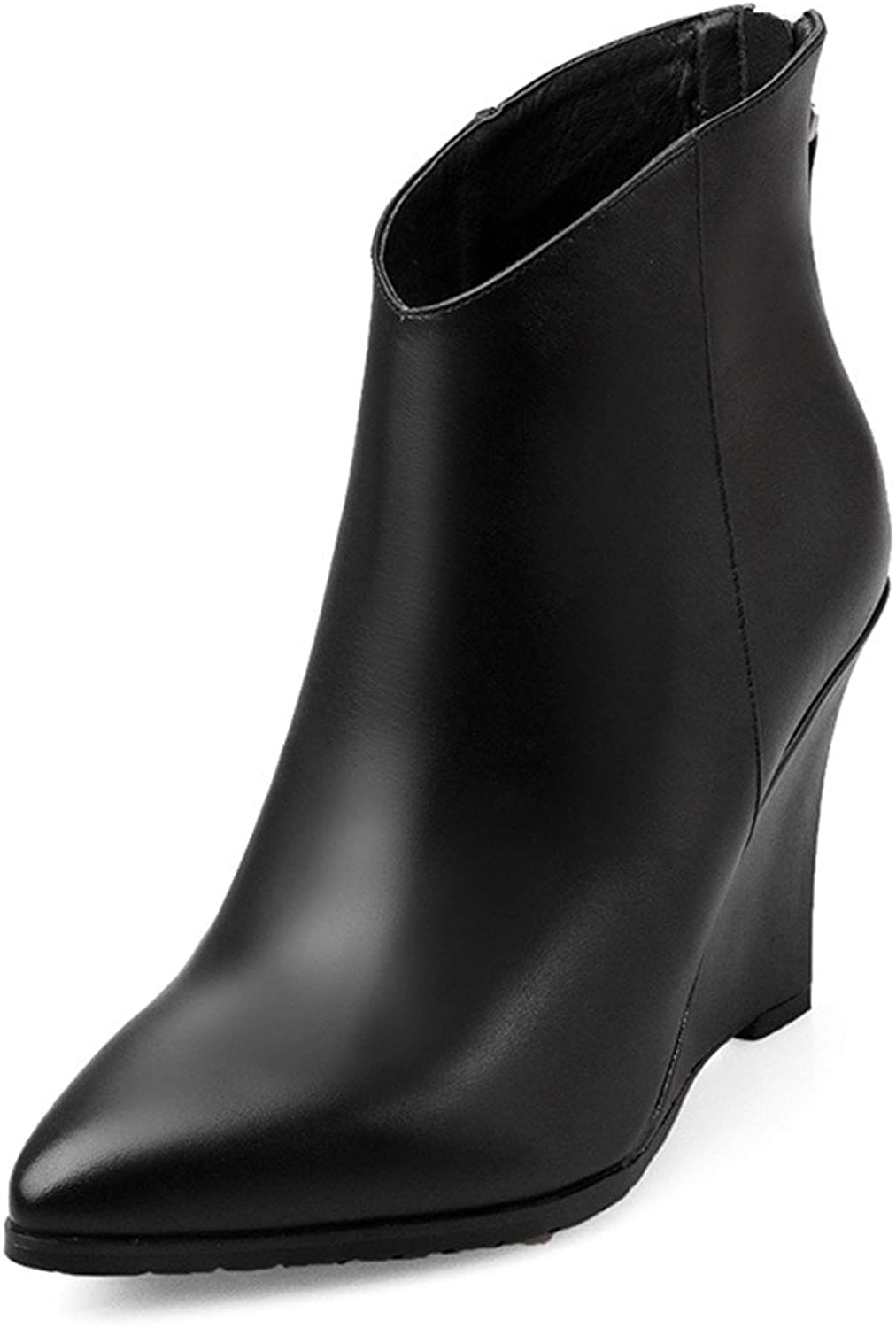 MINIVOG Women's Back Zipper Top-Grain Leather Pointed Toe Wedge Heel Ankle Boots Black