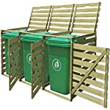Festnight Wooden Wheelie Bin Shed Household Council Outdoor Waste Shed Single/Double/Triple (Triple)