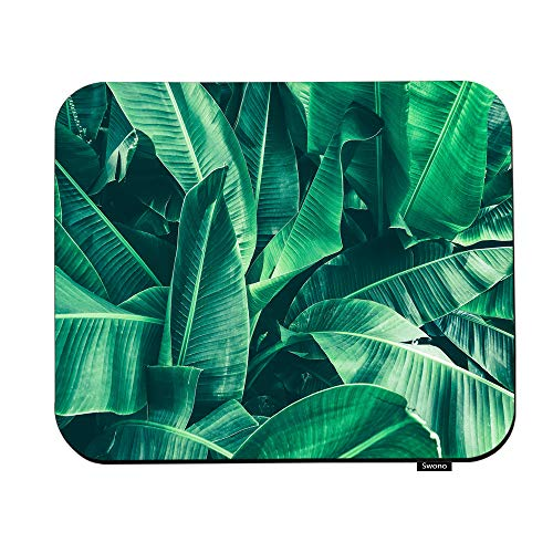Swono Green Leaves Mouse Pads Tropical Banana Leaf Large Palm Foliage Nature Dark Green Background Print Mouse Pad For Laptop Funny Non-Slip Gaming Mouse Pad For Office Home Travel Mouse Mat 7.9'X9.5'