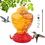 Sallia Hummingbird Feeders for Outdoors-Hand Blown Glass Hummingbird Feeder-Hummingbird Feeders with Perch-Hummingbird Nectar Capacity Include Hanging Wires and Moat Hook