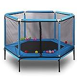 Trampoline avec enceinte de sécurité - Bounce silencieux et sûr | Convient aux adultes ou aux enfants, Séance d'entraînement en plein air en toute sécurité, Trampoline de fitness,Blue