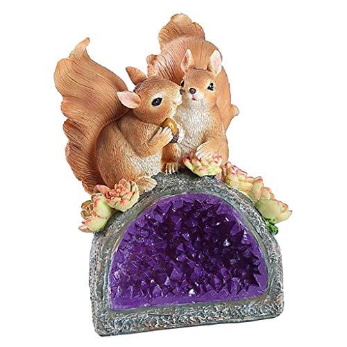 LOVIVER Solarfigur Gartenleuchte Figur für Haus und Garten - Dekofigur - Gartdendeko, Tischdeko - Liebpaar Eichhörnchen