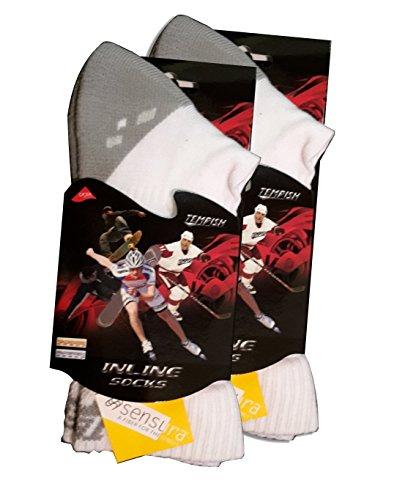 2X Skate Socken, Inliner Socken Tempish Skate Air Midi White 34-48 Sportsocken (34-36)