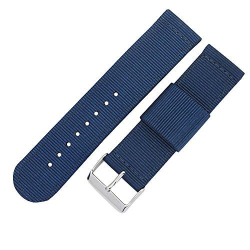22 millimetri blu di fascia alta stile NATO nylon balistico sostituzione cinturino cinturino tela per gli uomini intrecciato
