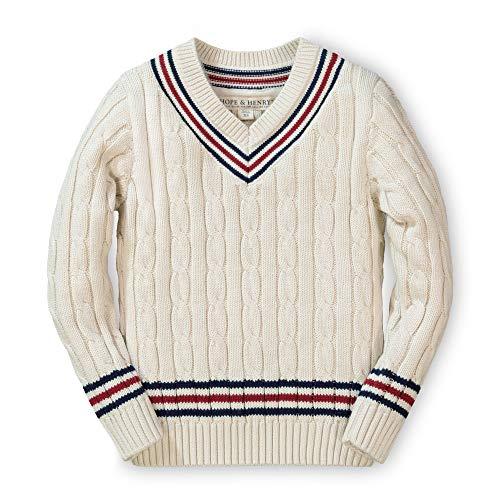 Hope & Henry Cricket-Pullover für Jungen, langärmelig, V-Ausschnitt - Weiß - Mittel