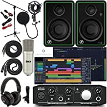 Mackie Onyx Artist 1-2 Audio Interface With Pro Tools First/Tracktion Music Production Software, CR3-X Monitor Pair Condenser Studio Microphone, XLR, Headphones, Mic Stand