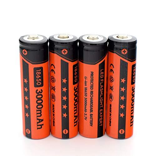 HTRN Batería Recargable De 18650 3.7v 3000mah, Usada para La Batería MóVil De La Linterna del Poder 4pcs