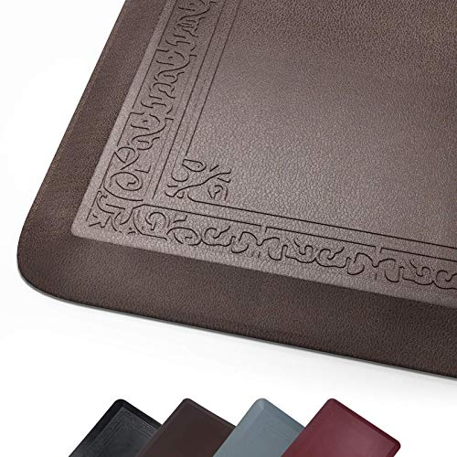 Anti Fatigue Comfort Mat by DAILYLIFE, Non-Slip Bottom - 3/4' Thick Durable Kitchen Standing Floor Mat with Extra Support at Home, Office and Garage - Waterproof & Easy-to-Clean (24' x 72', Brown)