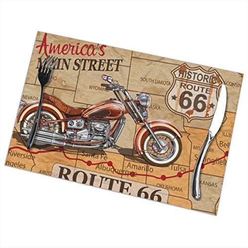 Sunwei firma Placemats voor eettafel set van 6,Placemats voor eettafel set van 6Vintage Route 66 Motorcycle Poster. tafelkleed 45X30 CM