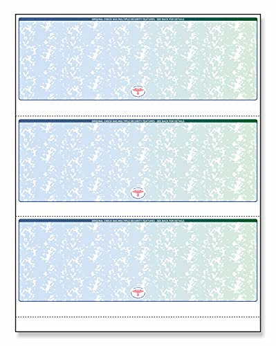 NextSecure Blank Check Stock for Laser/Ink-Jet, 500 Sheets Per Pack (Green/Blue Prismatic 3 Per Page)