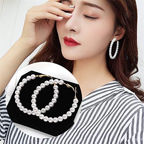 Xpwoz Elegantes de Moda Creado Declaración simulado Grande de Perlas Largo Pendientes de Gota de Perlas Cadena Gota del Regalo del Banquete de Boda Pendientes para (Color : E445)