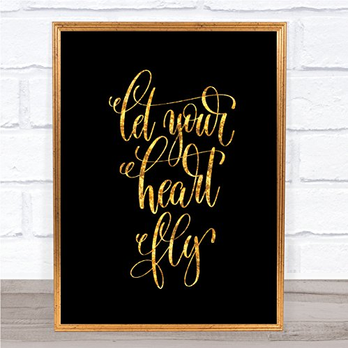 Laat uw hart vliegen citaat afdrukken zwart & goud Wall Art Picture Framed Oak Medium
