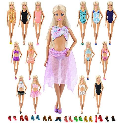Miunana 20x = 10 Piezas Traje de Baño Bañadores Ropas Playa + 10 Pares de Zapatos Accesorios como Regalo para Muñeca 30cm Doll - Estilo al Azar