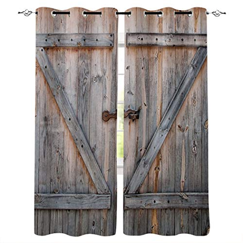 """Aiesther Barn Window Curtains, Room Darkening Thermal Insulated Blackout Curtains for Living Room Bedroom (2 Panels, 52"""" W by 72"""" L), Rustic Farmhouse Wooden Barn Door"""