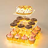 Weddingwish Pastry Stand 3 Tier Acrylic Cupcake Display Stand Cake Stand Dessert Stand Cupcake holder Pastry serving platter Candy Bar Party Décor Wedding Birthday Holidays,Christmas(Yellow Light)