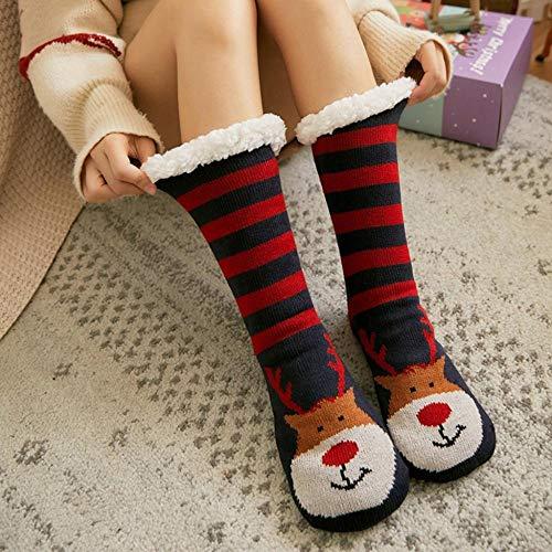 whmyz Navidad mujeres algodón calcetines impresión más grueso antideslizante piso calcetines invierno...