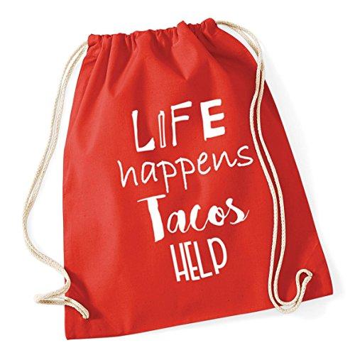 HippoWarehouse Life Happens Tacos Help Drawstring Cotton School Gym Kid Bag Sack 37cm x 46cm, 12 litres