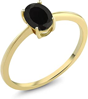 Black Onyx 10K Yellow Gold Solitaire Women's Engagement Ring (0.80 Ct Oval Available 5,6,7,8,9)