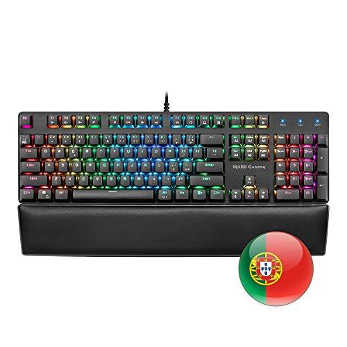 Mars Gaming MK5, blaue mechanische Schaltertastatur, RGB, Software, Handballenauflage, PT