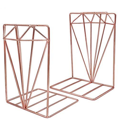 EAHUHO Buchstützen Metall Roségold Bücherregal Sammlung - 3D-Stereo-Diamant-Design, ideal für die Organisation von Büchern Zeitschriften CDs usw. Für die Heimdekoration im Büro (Rose Gold)