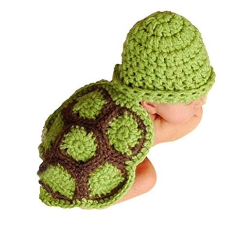 BLUETOP Baby Photo Prop Newborn Outfit Clothes Knit Crochet Photography Infant Cute Handmade Turtle Costume Hat Cap Unisex Girl Boy Set Green