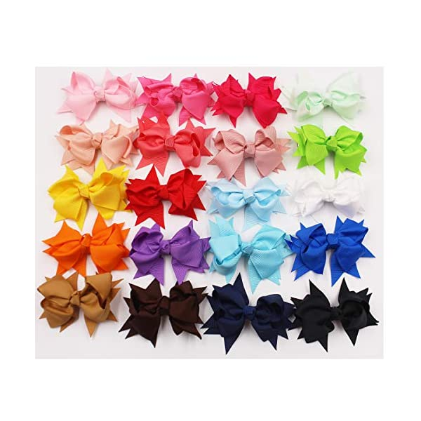 40PCS 20 Colors In Pairs Hair Bows Clips 3.3Inch Grosgrain Ribbon Pinwheel Bows Alligator Hair Clips Hair Barrettes Hair Accessories for Baby Girls Toddler Infants Kids Children