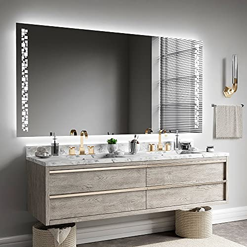 ARTTOR Espejo Baño con Luz - Espejos Pared - Decoracion Hogar - Espejos Decorativos De Pared - Muchos Tamaños - Pequeños y Grandes - M1ZP-46-140x90