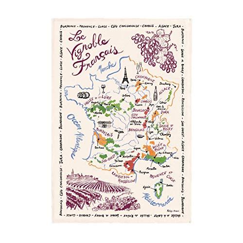 Winkler - Torchon La Carte Des Vins de France - 72x48 cm – 100% coton absorbant - Fabriqué en France - Serviette à vaisselle, chiffon de nettoyage, lingette de séchage