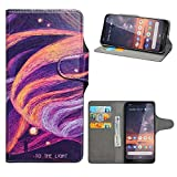 HHDY Wiko Y60 Leder Hülle,Painted Muster Wallet Handyhülle mit Kartenfächer/Standfunktion Hülle Cover für Wiko Y60,Brilliant Purple