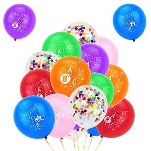 HOWAF Schulanfang Deko Junge und Mädchen, 35Pcs Schuleinführung Einschulung Deko Konfetti Luftballons Set für Jungen und Mädchen, Luftballons mit ABC und 123 Motiv