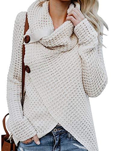 Yidarton Pullover Damen Warm Asymmetrische Strickpullover Rollkragenpullover Solid Wrap Gestrickt Langarmshirts Oberteile Causal (A-Beige, XL)