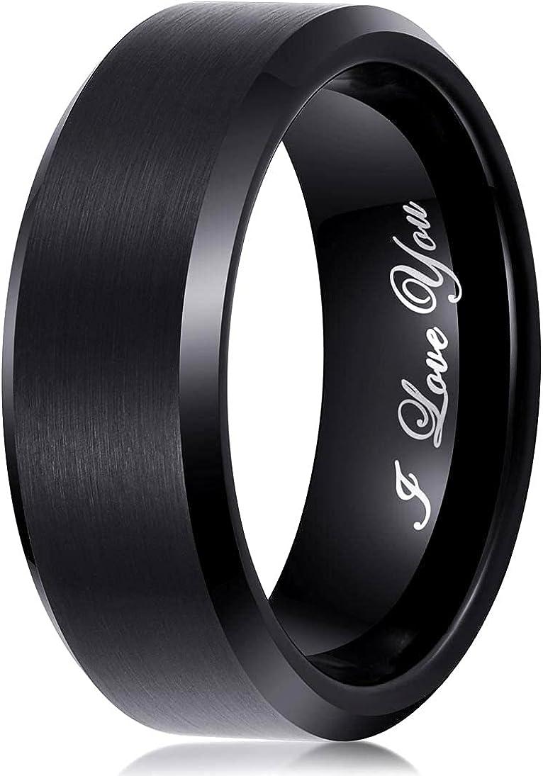 Mens Wedding Band Tungsten Carbide Ring 8mm Men Engagement Promise Women,Black Blue Gold White,Brushed,Comfort,I Love You