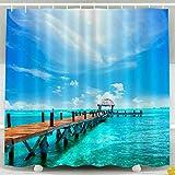 Cortina de ducha, cortina de ducha transparente, playa exótica, paraíso, viajes, turismo y vacaciones, concepto de paisaje de resort tropical, embarcadero cerca de Cancún, decoración impermeable, jueg