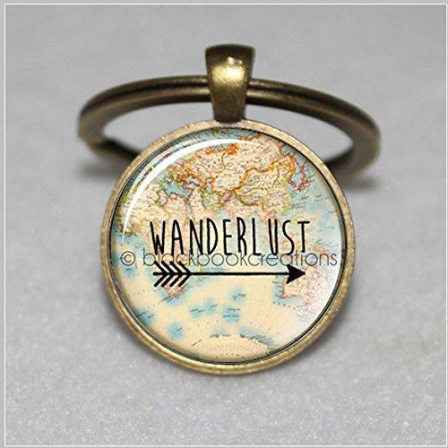 Wanderlust Vintage Map Keychain - Handmade