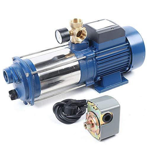 2200 W centrifugaalpomp tuinpomp – roestvrij staal centrifugaalpomp, huiswatervoorziening, tuinpomp, aansluitdoos met schakelaar en netaansluiting (9600 l/u, 2850 tpm, IP44)