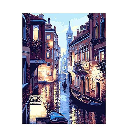Pintar por numeros para Adultos Venecia - Pintura para Pintar por números con Pinceles y Colores Brillantes - Cuadro de Lienzo con numeros pre Dibujado fácil de Pintar - Paisaje de Venecia