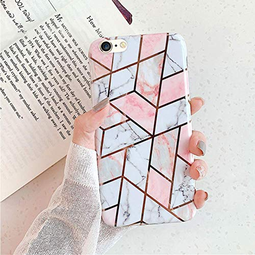 Herbests Kompatibel mit iPhone 8 Plus/iPhone 7 Plus Handyhülle Marmor Matt Marble Muster Schutzhülle Dünn Handytasche Glitzer Glänzend Ultradünn Transparent Durchsichtige Silikon Hülle Case,Pink Weiß