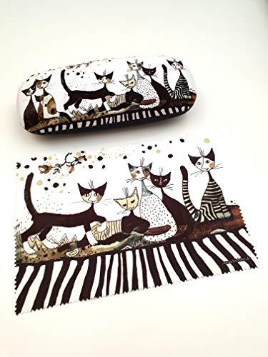 Fridolin Funda rígida para gafas con gamuza limpiadora, diseño de gatos Sepia Rosina Wachtmeister