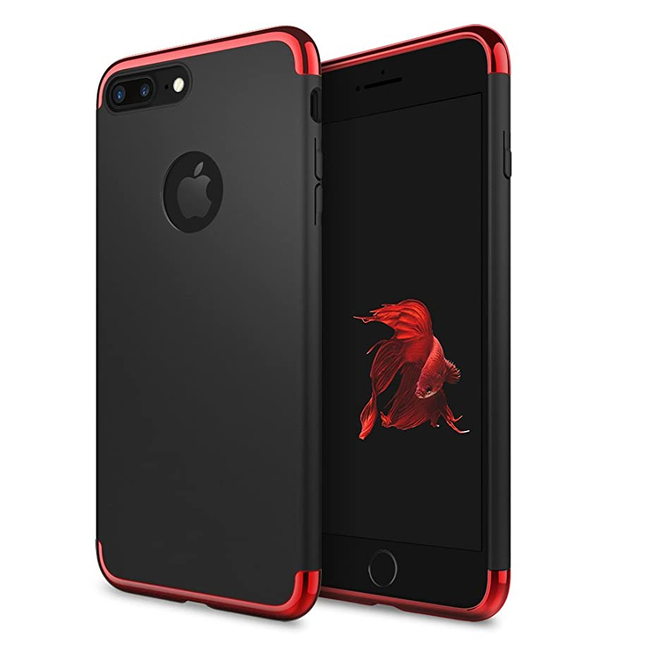 iPhone 7 Plus Case, idutou 3-in-1 Sleek Thin and Slim Fit Hard Shell Cover Case with 3 Detachable Parts for Apple iPhone 7+ Only, Chrome RED and Matte Black (5.5 Inches) 2016 (Black/red)