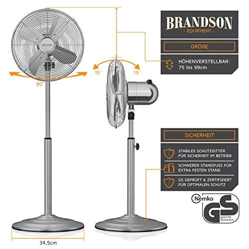 Brandson – Standventilator mit Oszillation 80° im Chrom-Design   30 cm Rotor   hhenverstellbarer Standfuß   3 Geschwindigkeiten   30° neigbar   Ventilator Standlfter   GS-Zertifiziert kaufen  Bild 1*